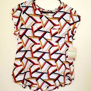 Medium geo blouse top shirt cream red blue new nwt